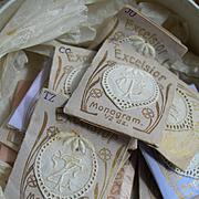 120 antique 19th century French monogram appliques in tiny envelopes