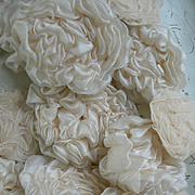 Collection 20 antique French handmade silk roses flowers circa 1890 - convent find for crowns & tiaras