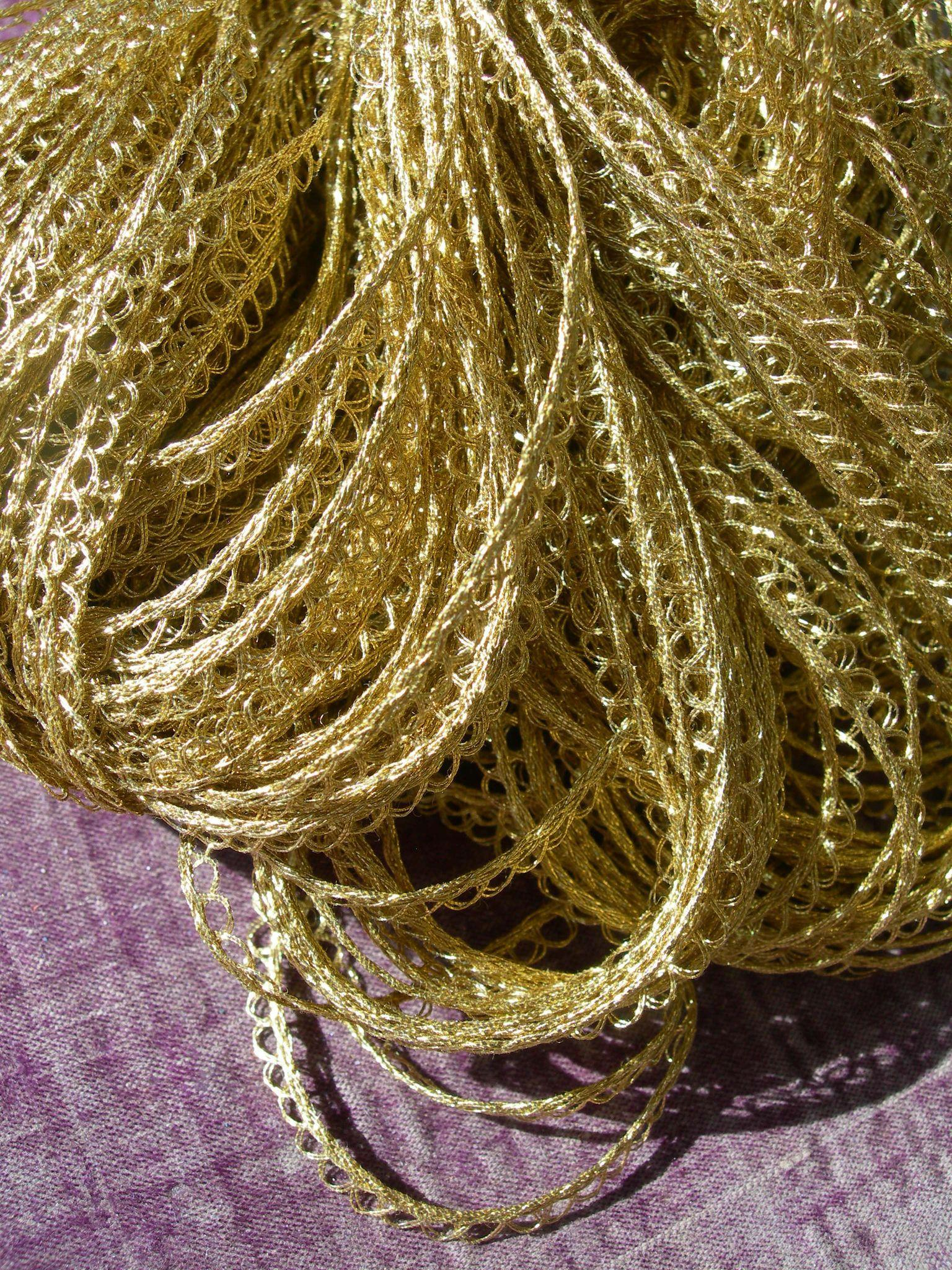Large skein - 60 yards vintage French 1920s gold coloured metallic thread picot lace edging trim