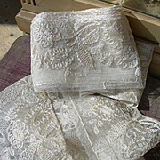 Length unused vintage French 1920s embroidered tulle lingerie lace edging trim