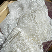 Long length unused vintage French 1920s embroidered tulle lingerie lace edging trim