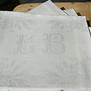 Set 8 antique French 19th century hand embroidered linen napkins serviettes monogram LB - chateau provenance