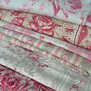 8 large panels antique French printed 19th century fabric - pink cabbage roses