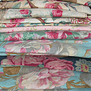 15 larger panels antique French printed 19th century fabric - cabbage roses