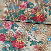 Huge panel 135 inches  x 37.5 inches antique French 19thC printed cotton Chine Chintz fabric