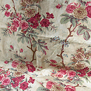 Divine large panel 99 inches x 28 inches antique French 19th century printed cotton Chine Chintz fabric