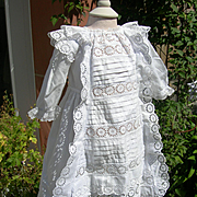 Antique Victorian toddler's lace & pintucked dress smock 1890s