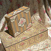 Stack of 3 beautiful vintage French 1920s fabric covered boudoir sewing trinket boxes