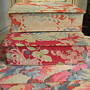 Stack of 3 vintage French fabric covered boudoir sewing trinket boxes 1920s - oriental floral motifs