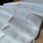 Set 6 antique French 19th century hand embroidered linen napkins serviettes monogram LB - chateau provenance