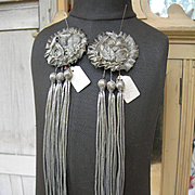 Pair unused vintage French 1920s silver lame and bullionwork rosette tassels