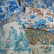 7 larger panels antique French printed 19th century blue roses & toile fabric