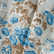Huge panel antique French 19th Century printed blue cabbage roses cotton fabric