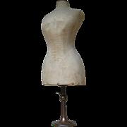 Rare antique Edwardian circa 1903 counter-top corset mannequin with extendable base