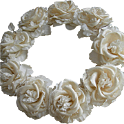 Divinely plump antique French fabric roses wedding crown tiara headdress 1900