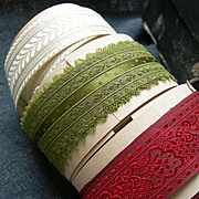 Collection on fine antique 19th century silk ribbon on rolls - approximately 25 yards
