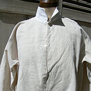Antique French 19th Century farmer's linen primitive work chore shirt smock monogram EB