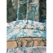 Collection 10 panels antique French 19th Century Toile de Jouy printed cotton fabric - blue & turquoise tones