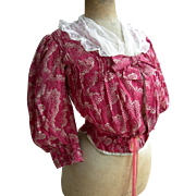 Antique French raspberry silk boned corset bodice top with lace fichu 1870s