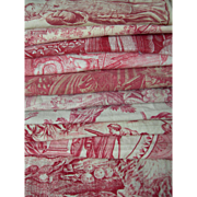Collection 12 antique French 19th Century Toile de Jouy printed cotton fabric - pinks & reds