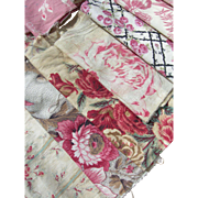 Collection 32 antique French 19th century cabbage roses prints fabric panels - quilts