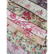 Collection 14 antique French 19th century cabbage roses prints fabric larger panels