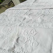 3 large antique French 19th century hand embroidered linen wedding sheet panels - huge monograms