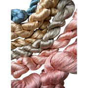 Collection of antique French pure silk floss skeins from a Lyon silk weaving studio