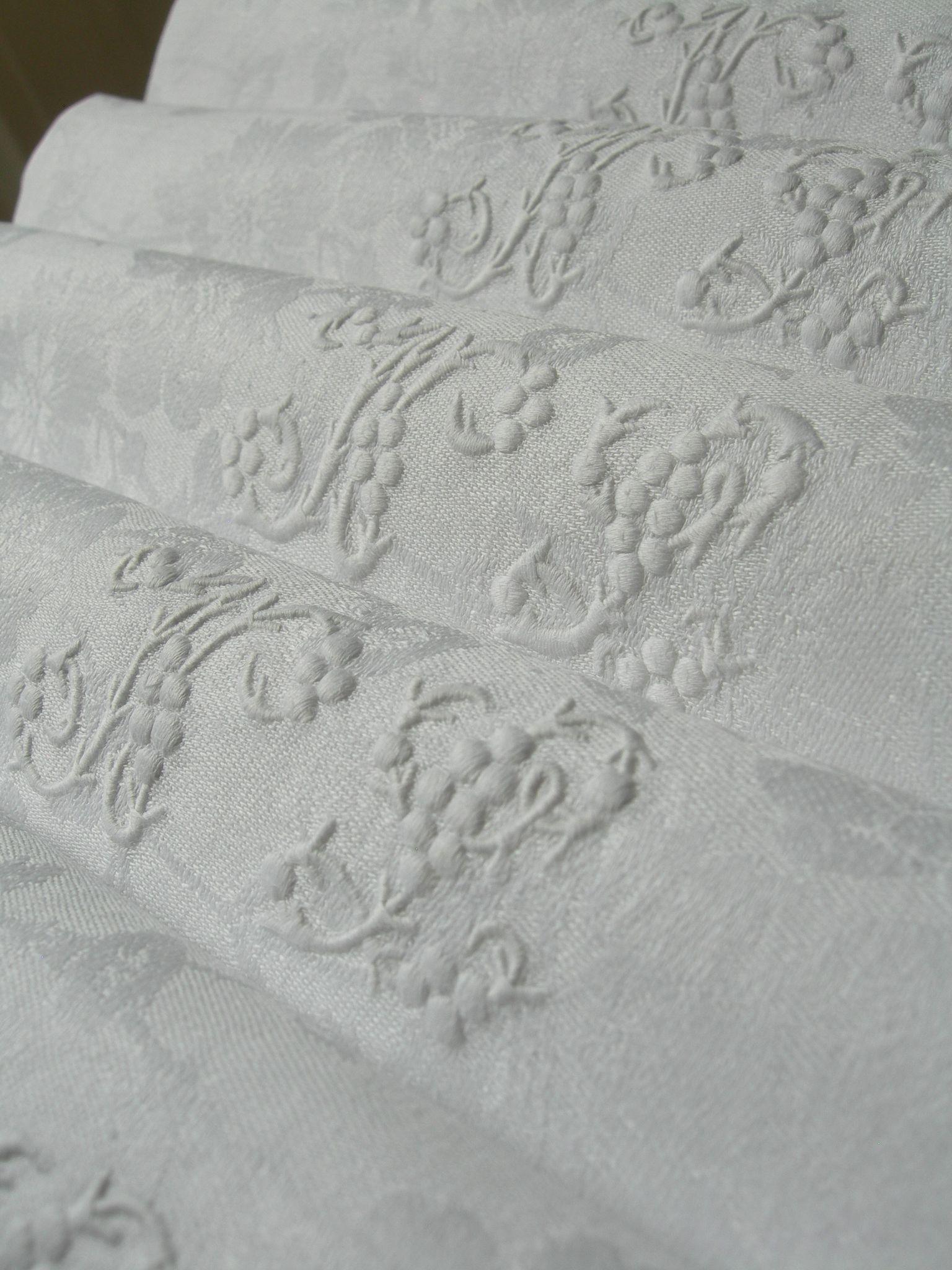 4  French linen damask napkins - hand embroidered monogram NL