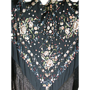 1920s hand embroidered silk Cantonese silk piano shawl with hand knotted fringe
