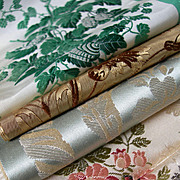 Collection 4 French 19th century woven silk brocade ribbon samples - Lyon