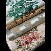 Collection 4 French 19th century woven silk brocade ribbon samples - Lyon