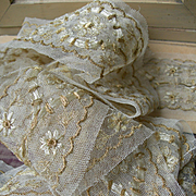 Long unused length hand embroidered tulle with gold metallic thread 1910 antique French lace trim