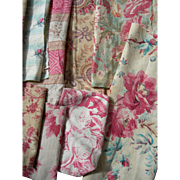 Collection 30 antique French 19th century cabbage roses prints fabric panels - quilts