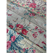 5 larger panels antique French 19thC printed cotton fabric Chine Chintz florals