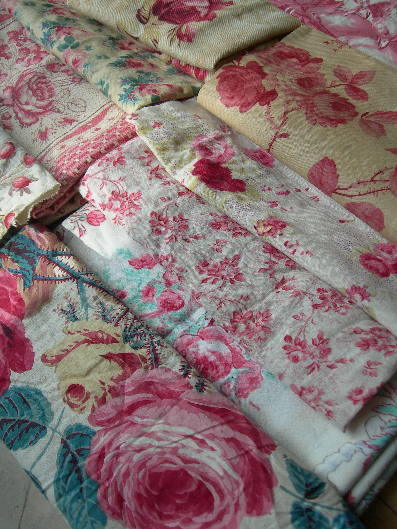 Collection 10 antique French 19th century cabbage roses prints fabric panels - quilts