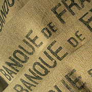 Collection 4 vintage French jute & hemp Banque de France sacks - cushion projects