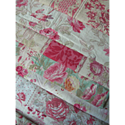 Collection 9 antique French 19th century cabbage roses prints fabric panels - quilts