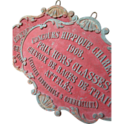 Large French embossed metal plaque prize dated 1908 - Horse Competition