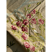 Unused antique French 19th century sample panel from La Maison Hamot, Paris - hand embroidered silk with original archive label