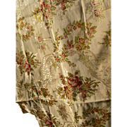Beautiful large panel antique French 19th century Lyon silk brocade - cabbage roses