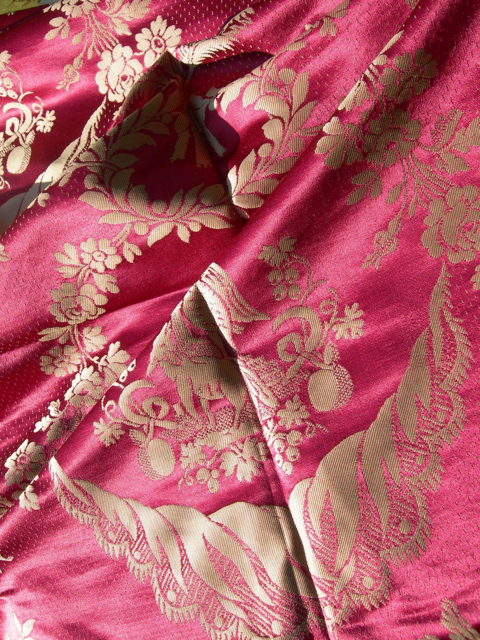 Large panel antique French 19th Century woven silk damask - Maison Hamot archive sample