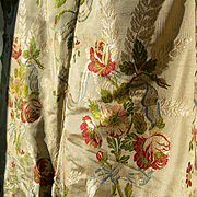 Beautiful large panel antique French 19th century Lyon silk brocade - cabbage roses & ribbon swags