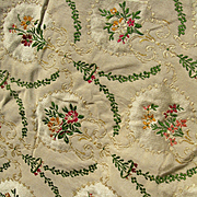 Beautiful large panel antique French 19th century Lyon silk brocade - flowers & swags
