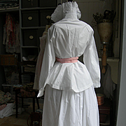 Antique French hand embroidered white cotton woman's blouse & skirt w. silk ribbon 1890s