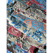 Collection 11 antique French 19th century floral & small prints fabric panels - quilts