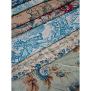 Collection 12 antique French 19th century floral & Toile de Jouy prints fabric panels - quilts
