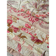 Collection 12 large antique French 19th century cabbage roses prints fabric panels - quilts