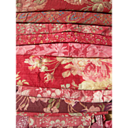 Collection 20 antique French 19th century cabbage roses prints fabric panels - quilts