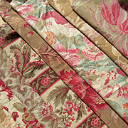 Collection 12 larger antique French 19th century cabbage roses prints fabric panels - quilts